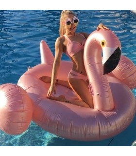 Giant Rose Gold Flamingo Float